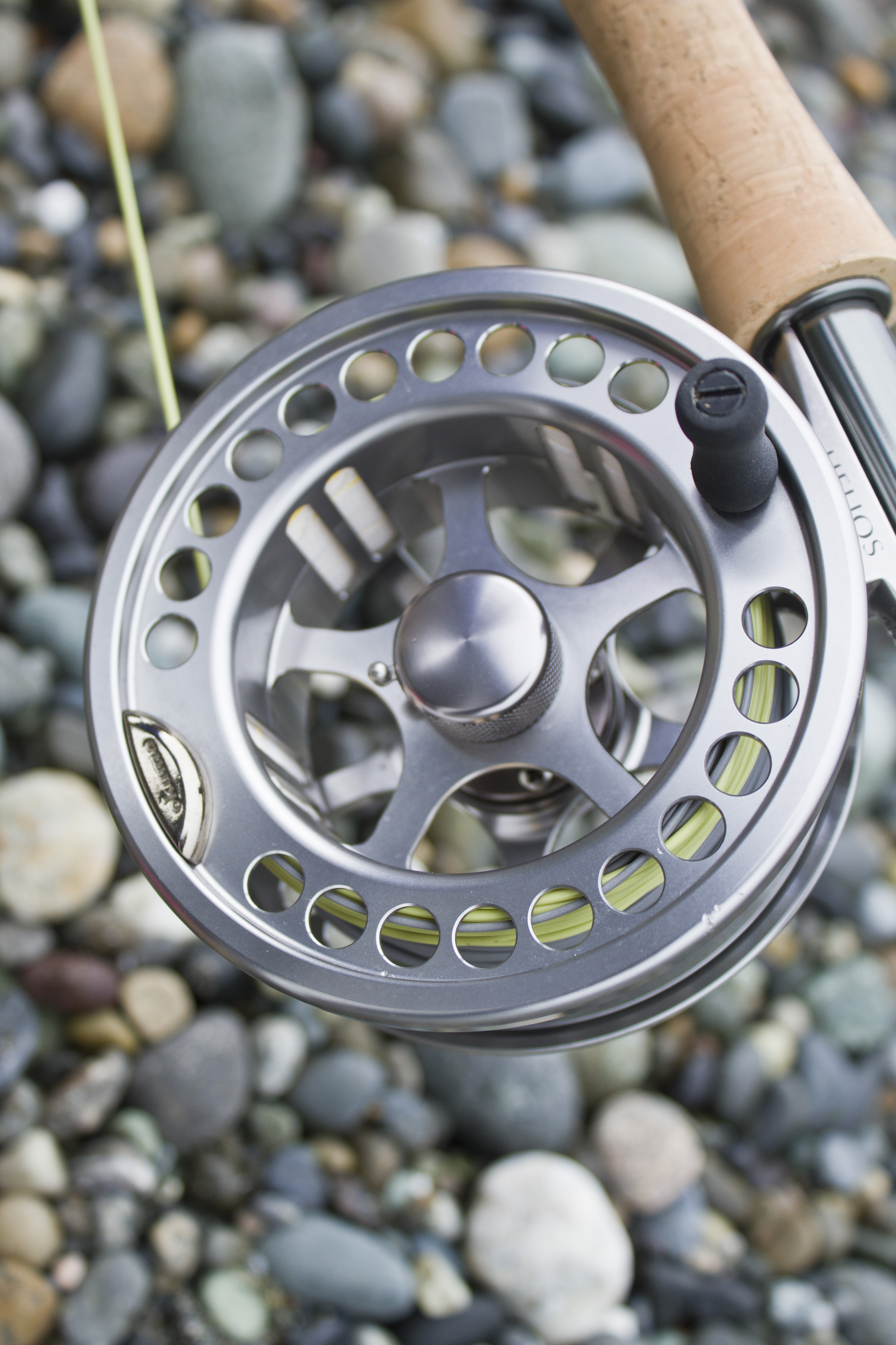 The Okuma Helios has a beautiful brushed aluminum finish that looks great on the rod.